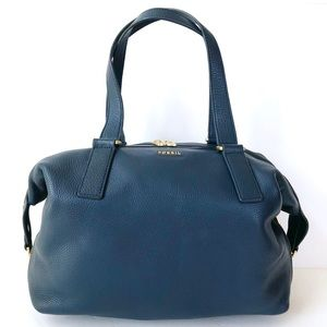 FOSSIL PRESTON Heritage Blue Expandable Satchel